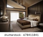 Stock photo urban contemporary modern classic traditional hotel bedroom interior design in wooden house with 678411841