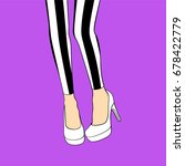 female legs in striped...   Shutterstock .eps vector #678422779