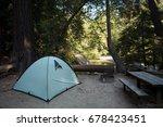 a tent at a campsite in a...