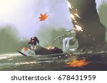 autumn is coming concept  young ... | Shutterstock . vector #678431959