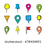 map pointers hand drawn sketch... | Shutterstock .eps vector #678434851
