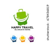happy travel logo with suitcase ... | Shutterstock .eps vector #678436819