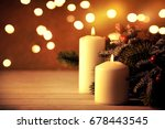 christmas candles and ornaments ...   Shutterstock . vector #678443545