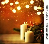 christmas candles and ornaments ... | Shutterstock . vector #678443581