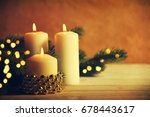 christmas candles and ornaments ... | Shutterstock . vector #678443617