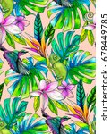 seamless tropical pattern with... | Shutterstock . vector #678449785