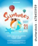 flyer for summer party. beach... | Shutterstock .eps vector #678455959