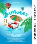 flyer for summer party. beach... | Shutterstock .eps vector #678455974