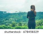 asian women travel sleep relax. ...   Shutterstock . vector #678458329