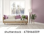white room with sofa and winter ... | Shutterstock . vector #678466009