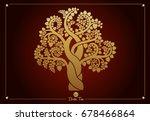 golden bodhi tree  sacred tree  ... | Shutterstock .eps vector #678466864