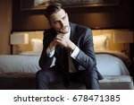 young handsome man relaxing at... | Shutterstock . vector #678471385