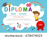 certificates kindergarten and... | Shutterstock .eps vector #678474025