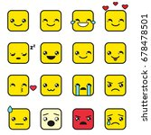 vector set of cute square... | Shutterstock .eps vector #678478501