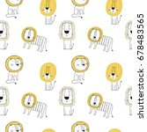 Stock vector seamless pattern with cute lion 678483565