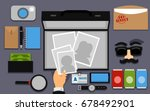 illustration featuring spying... | Shutterstock .eps vector #678492901
