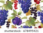 seamless botanical pattern with ... | Shutterstock .eps vector #678495421