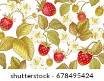 seamless botanical pattern with ... | Shutterstock .eps vector #678495424
