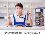 computer repairman repairing... | Shutterstock . vector #678496675
