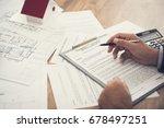 tenant reviewing rental... | Shutterstock . vector #678497251