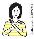 woman making no hand sign or x... | Shutterstock .eps vector #678497941