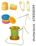 threads  needles  thimbles ... | Shutterstock .eps vector #678508399