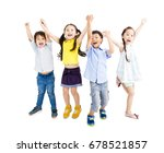 Group Of Happy  Kids Jumping...