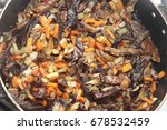 mushrooms fried on the pan with ... | Shutterstock . vector #678532459