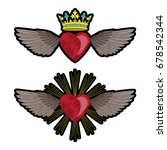 set embroidery hearts and wings ... | Shutterstock .eps vector #678542344