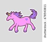 cute unicorn patch   pin. 90s... | Shutterstock .eps vector #678543811
