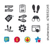 step by step icons. footprint...