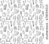 cooking tools doodle seamless... | Shutterstock .eps vector #678554515
