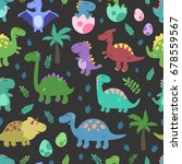 funny colorful dinosaurs ... | Shutterstock .eps vector #678559567