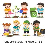 set of a cute kids. save earth. ...   Shutterstock .eps vector #678562411