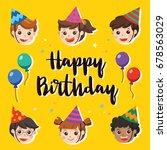 illustration card. happy... | Shutterstock .eps vector #678563029