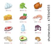 protein food icons collection... | Shutterstock . vector #678564055
