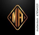 golden monogram logo curved...   Shutterstock .eps vector #678564319