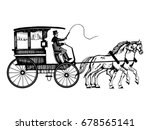 Carriage With Horses Vector...