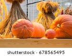 autumn composition of pumpkins  | Shutterstock . vector #678565495