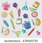 school elements clip art doodle ... | Shutterstock .eps vector #678565735