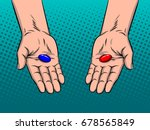 hands with red and blue pills... | Shutterstock .eps vector #678565849