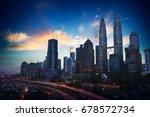 silhouette of kuala lumpur... | Shutterstock . vector #678572734