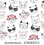 Stock vector vector fashion cat seamless pattern cute kitten illustration in sketch style cartoon animals 678585571