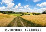 dirt road between golden corn... | Shutterstock . vector #678585889