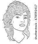 beautiful sketch girl with long ...   Shutterstock . vector #678592417