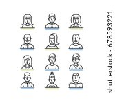 people avatar line style icons... | Shutterstock .eps vector #678593221