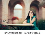 sad bored woman being stood up... | Shutterstock . vector #678594811