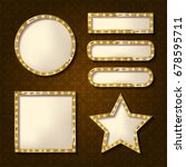 set of glowing retro frames on... | Shutterstock . vector #678595711