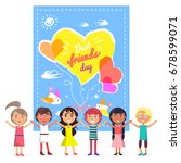 best friends day banner with... | Shutterstock .eps vector #678599071