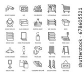 retail store supplies flat line ... | Shutterstock .eps vector #678605521